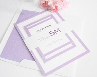 Purple Wedding Invitation - Wedding Invites - Purple, Unique, Romantic - Modern Luxe Wedding Invitations by Shine Invitations
