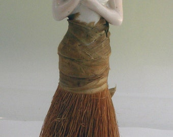 Vintage Vanity Clothes Brush~1/2 Lady~Porcelain Figurine~1920's? Flapper