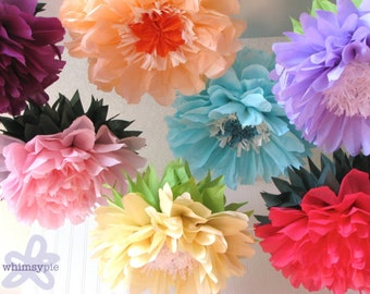 SUMMER GARDEN BLOOM. 7 Giant Paper Flowers wonderland party, flower wall, baby bridal shower, birthday, wedding dessert table, nursery decor