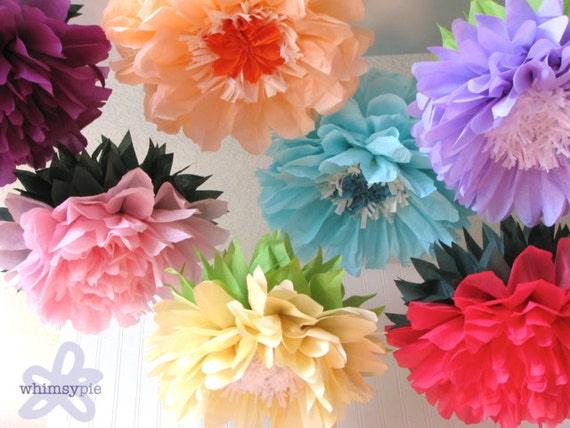 CUSTOM LISTING for NEHA 21 Giant Paper Flowers, wonderland wedding, bridal/baby shower, fairy party decor. Party Blooms by Whimsy Pie