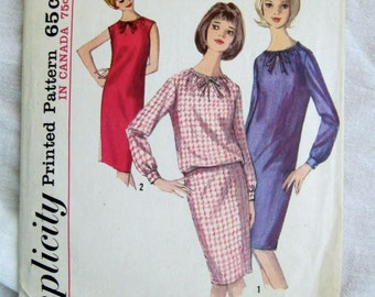 Simplicity 5529 1960s String Bow Sheath Dress Vintage Sewing Pattern Bust 32