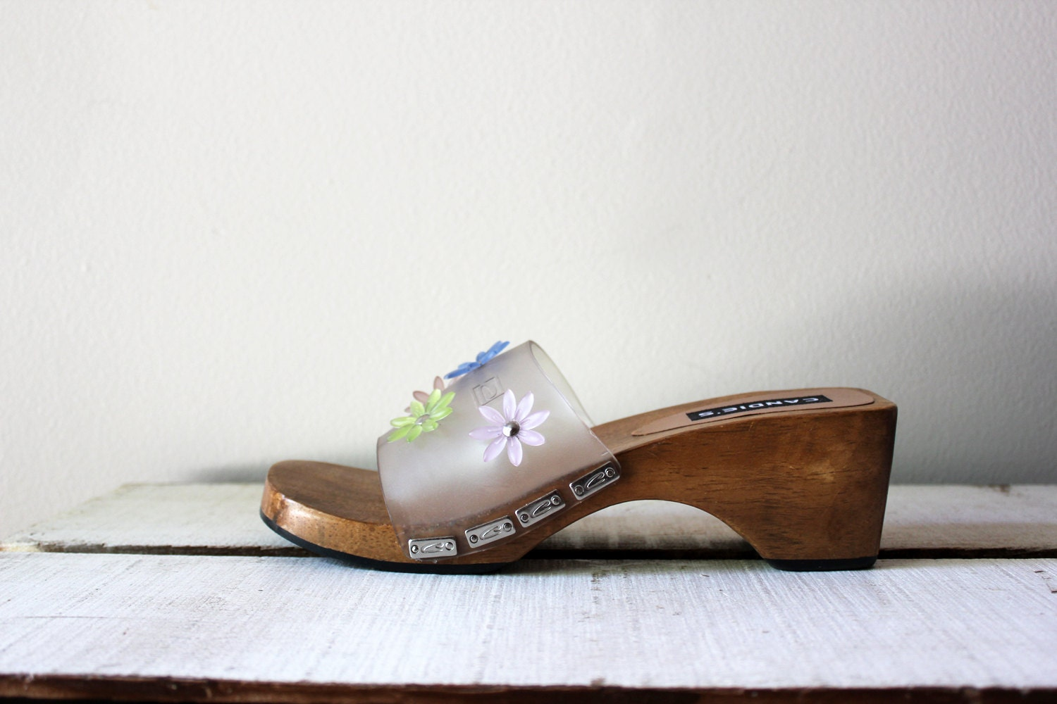 vintage 90s candies wooden platform shoes clear by