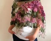 Crocheted Shawl, Dahlia Flower Shawl, Triangle Shawl, Floral Fantasy, Spring Accessory, Pink, Olive Green