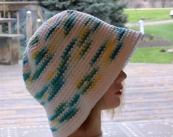 Spring Cotton Crochet Beach Hat,Cool Cotton Cloche,Summer Beach Hat,Variegated Aqua Blue Green Yellow White,Ready to Ship,