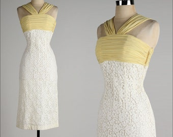 vintage 1950s dress . ivory lace wiggle . yellow rayon crepe halter .  4284