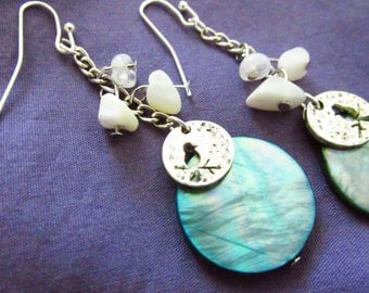 Mother of Pearl and Shell cluster drop Earrings with Bird charm