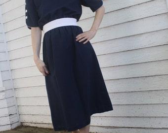 Vintage 80s Dark Blue Dress Short Sleeve Retro Casual White Buttons S M 10