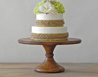 "12"" Wedding Cake Stand Rustic Cake Stand Pedestal Cake Stand Grooms Cake Topper E. Isabella Designs As Featured In Martha Stewart Weddings"