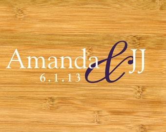 Wedding Dance Floor or Wall Vinyl Decal Couples Names and Last Initial Monogram - Wedding Name Vinyl Decal - Family Monogram
