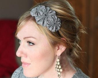 Adult Headband - Charcoal Grey Flower Headband