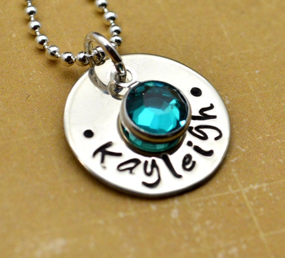 Personalized Necklace, Hand Stamped Jewelry, Custom Neckace, Mom, Mommy, Mother, Birthstone