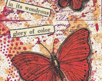 Original collage / mixed media ACEO - red butterflies