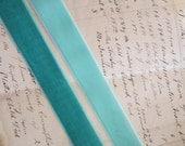 "velvet ribbon - 2 yards x 7/8"" wide ribbon - AQUA or TURQUOISE, your choice"