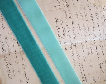 "velvet ribbon - 2 yards x 7/8"" wide ribbon - AQUA or TURQUOISE, your choice"