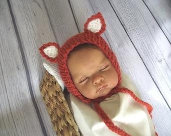 Newborn photo prop, newborn hat, newborn boy, newborn girl, knit newborn hat, newborn props,Newborn fox bonnet.