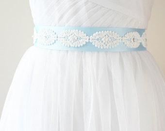 Blue Bridal Sash, Wedding Belt, Bridesmaid Sash, Wedding Sash, Light Blue Sash