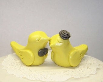 Bird Wedding Cake Topper - Elegant Pale Yellow and Grey - Choice of Colors - FAST SHIPPING