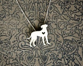 Catahoula Leopard necklace, sterling silver hand cut pendant with heart, tiny dog breed jewelry