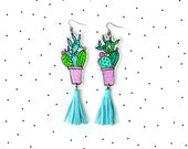 Cactus Earrings, Mint Earrings, Tassel Earrings, Cactus Plant Leather Earrings, Geometric Earrings, Southwest Desert Jewelry