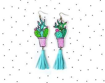 Cactus Earrings, Mint Earrings, Tassel Earrings, Cactus Plant Leather Earrings, Geometric Earrings, Southwest Desert Jewelry
