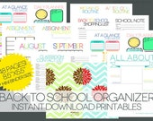 UPDATED CALENDARS!  2015-2016 School Year - School Organizer Printables - 48 page Instant Download for Mini Binders