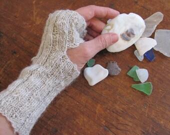 Handspun Hand Knitted Alpaca Fingerless Gloves, Highland Rustic Woodland Cabin Hygge Hand Spun Knit Handwarmers, Natural White Wrist Warmers