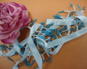 "20 yards 1 1/4"" long ( with 3/8"" aqua satin ribbon ) blue and clear beaded fringe trim for fashion designs dancewear ST"