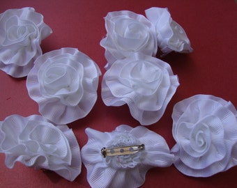 "5 pieces 2"" wide white grosgrain ribbon flowers pins for bridal corsages boutonniers bouquets flower pin S120"