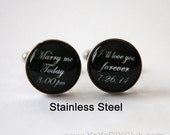 Personalized Wedding gift for groom, Wedding Cuff links Custom - Marry me today, I love you forever -  Custom Quote Custom Color