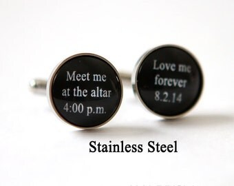Meet me at the altar - wedding gift for groom Bride to Groom Gift idea  Bride to Groom Gift Groom Cuff Links Personalized Wedding Cuff links