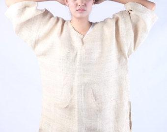 Natural White Unbleach Hemp blouse Boho NEW