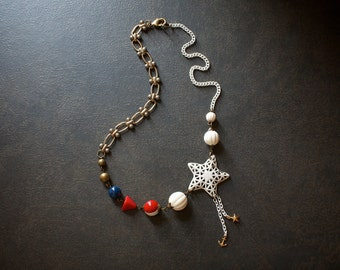 Patriotic Red White and Blue Assemblage Necklace with White Enameled Star and Vintage Lucite Beads