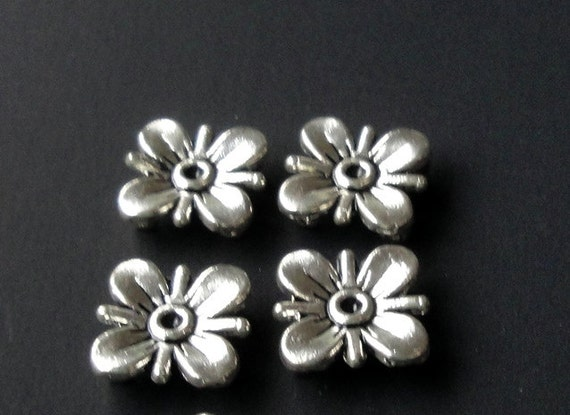 Silver Flower Connectors Sliders Two Strands (9) Pieces 10mm, Silver Metal Sliders Jewelry Findings