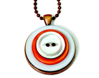 Upcycled Orange Button Necklace Pendant, Repurposed Buttons, Mother of Pearl