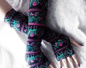 Hathi Arm Warmers - Hot Pink Turquoise Teal and White Thai Elephants & Lotus Floral Black Cotton - Yoga Cycling Traveler Gypsy Gothic Goth