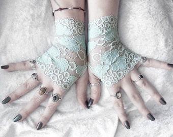 Petiole Lace Fingerless Gloves - Dusty Sage Blue Leaf Foliage - Wedding Austen Bridal Mori Gothic Victorian Regency Tribal Belly Dance Noir