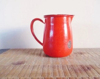 Vintage Chippy Red Enamel Pitcher Creamer