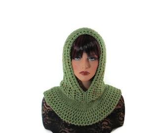 Sage Green Cowl, Mens Neckwarmer, Pea Green, Kiwi Green, Fishermans Hood, Crochet, Snood, Crocheted, Womens Scarf, Green Neckwarmer, Lichen