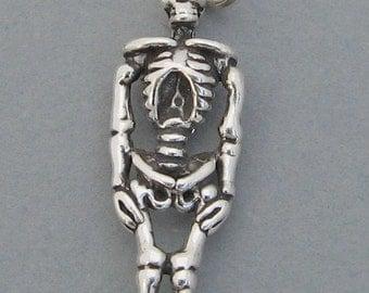 Sterling Silver 925 Charm Pendant 3D SKELETON Halloween 3864