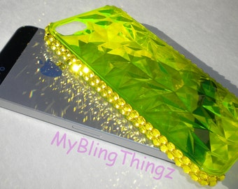 For iPhone SE or 5 / 5S - NEON GREEN - Flashy Diamond Cut Bling Back Protector Case Cover made with Citrine Swarovski Crystals
