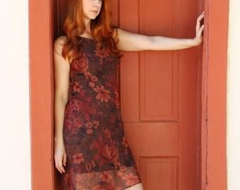 90s Women's Dress, Brown Orange Dress, Vintage Floral Dress, Cute Sexy Summer Dress, Date Dress, Romantic, Boho, Size Medium, FREE SHIPPING
