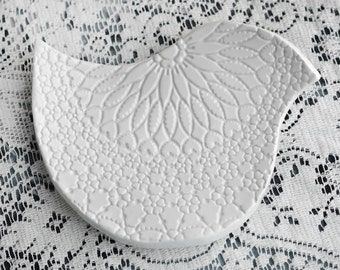 White lace bird ceramic soap dish, catchall, spoon rest, or candle holder