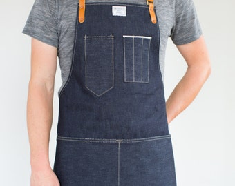 Mens Artisan Apron in Cone Selvage Denim