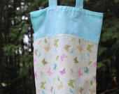 CLEARANCE Tote Bag, Butterfly Garden Market Bag, fabric bag, knitting project bag, reusable bag, cotton bag, butterly fabric, blue floral