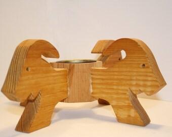 Wooden Goats Candleholder, Carved, Goats, Candlestick, Candelabra, Scandinavian, Ram, Sweden,Yule Goat,Christmas,Capricorn, FREE US Shipping