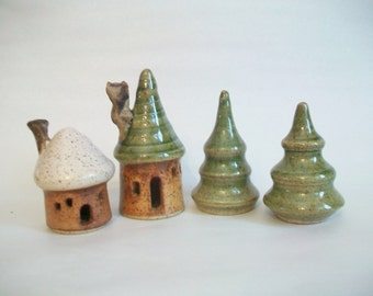 Fairy Houses -Set of 4 --- 2 Speckled Houses and 2 Speckled Pine Trees