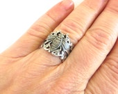Steampunk Bee Ring- Adjustable- Sterling Silver Ox Finish