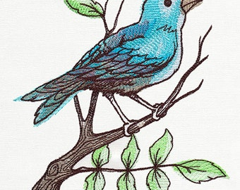 Embroidered Flour Sack Towel / Hand Towel / Quilt Block - Blue Perching Bird Embroidery Design