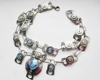 Eco Mixed Metal Necklace, Recycled Ring pulls, Beer cans, and Bottle Tops, Silver and Blue, with Black and White Bar Code