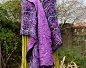 Nuno felted scarves - Purple black lilac pink nuno felted wool & silk Shawl wrap scarf - highly textured lagenlook Art to Wear artsy OOAK